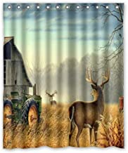 Shower Curtain Custom Unique Design Cool Old Tractor and Cute Deer Waterproof Bathroom Polyester Fabric 60(w) x72(h)