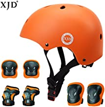 XJD Kids Helmet 3-8 Years Toddler Helmet Boys Girls Adjustable Sports Protective Gear Set Knee Pad Elbow Pads Wrist Guards Roller Bicycle BMX Bike Skateboard Helmets for Kids Orange S