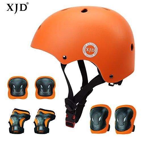 XJD Kids Helmet 3-8 Years Toddler Helmet Boys Girls Adjustable Sports Protective Gear Set Knee Pad Elbow Pads Wrist Guards Roller Bicycle BMX Bike Skateboard Helmets for Kids Orange S
