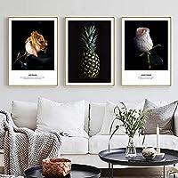 ピンクのバラの花の装飾ホームウォールアートキャンバス絵画パイナップルポスターとプリント壁の写真リビングルームの壁の装飾40x60cmx3フレームなし