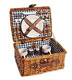 eGenuss LYP1593BLU Handgefertigtes Picknick Korb mit Porzellan Geschirr für 2 Personen aus Weidenholz Innenfarbe rot