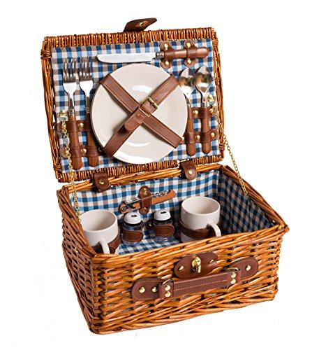 eGenuss LYP1593BLU Handgefertigtes Picknick Korb mit Porzellan Geschirr für 2 Personen aus Weidenholz Innenfarbe rot, mit Tassen