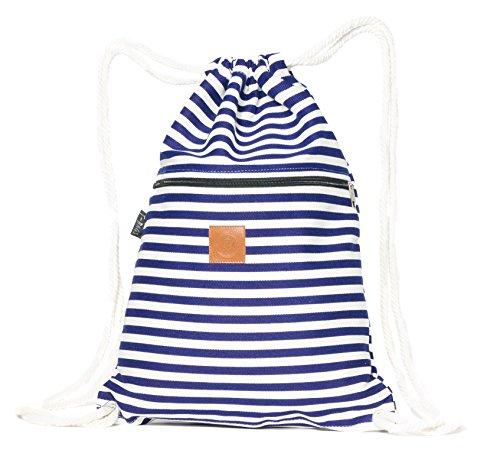 T-BAGS Thailand Baumwoll Turnbeutel Hipster - mit Reißverschluss - 24 Designs – Hochwertiger Beutel, Rucksack, Gym-Bag mit verstellbaren Kordeln (Streifen blau)