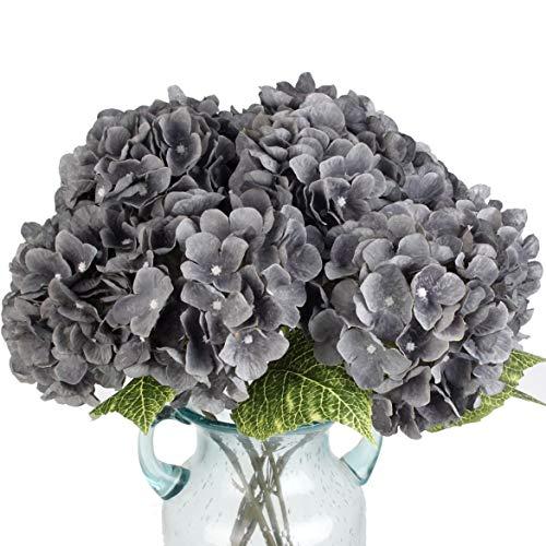 """Flores artificiais artificiais floridas paraíso florescidas arranjos de hortênsia de seda, buquês de casamento, decoração de plástico floral, casa, cozinha, jardim, festa, festival, bar, """"Faça você mesmo"""" (cinza, 5 cabeças de flor)"""