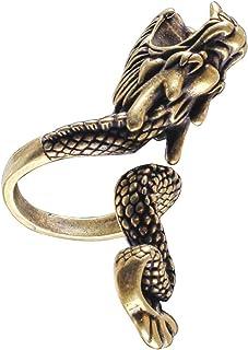 FAVOMOTO Anello Portasigarette Antico Anello Porta Dito da Fumo a Forma di Drago Elegante Anello Portasigari per Signora G...