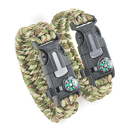 DETUCK 2PCS Pack Kit de Pulsera Paracord Pulsera de Supervivencia Pulsera Herramienta Kits de Supervivencia con Brújula Arrancador de Fuego de Pedernal Silbato Raspador (ejército Verde + Camuflaje)