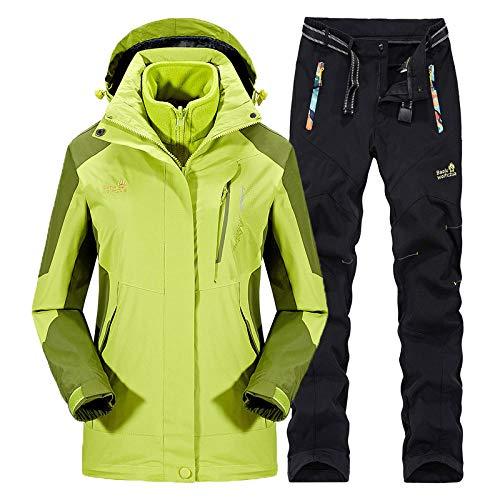 RXQCAOXIA Dames 3-in-1 winterjas en broek 2-delige set afneembare warme fleece ski-jack winddichte mantel met rits afneembare capuchon