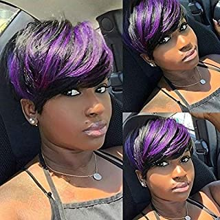 BeiSD Short Highlight Purple Wig Colored Short Pixie Hair Wigs For Black Women Black Girls Hairstyles