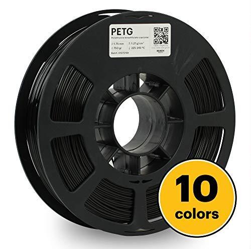 KODAK 3D PETG printer filament BLACK color, 0.02 mm, 750g (1.6lbs) Spool, 1.75 mm. Lowest moisture premium filament in Vacuum Sealed Aluminum Ziploc bag with Silica Gel. Fit Most FDM Printers