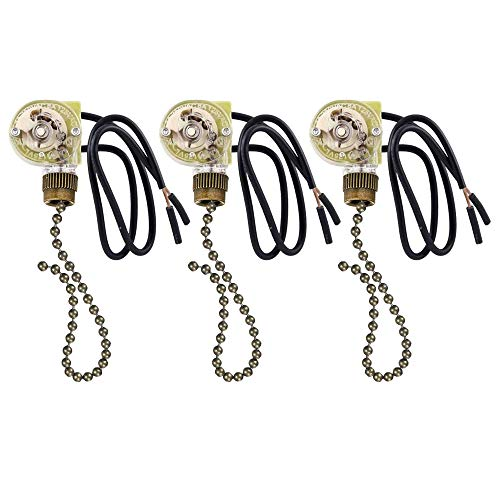 VIPMOON 3 PACK Ceiling Fan Switch Pull Chain Switch, Zing Ear ZE-109 ON-OFF Pull Chain Lamp Switch for Ceiling Fan Lights Lamp Bronze