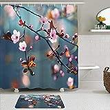 Juego de Cortinas y tapetes de Ducha de Tela,Naturaleza Japonesa floreciente Cerezo Flores en Rama Sakura Imagen del t,Cortinas de baño repelentes al Agua con 12 Ganchos, alfombras Antideslizantes