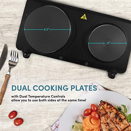 Elite Gourmet EDB-302BF Countertop Dual Flat Burner, Electric Hot Burner, Temperature Controls,...