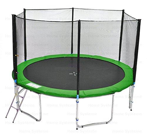 Giardino trampolino (GW) 400 cm con 13ft rete di sicurezza - TÜV / GS / CE - 180 kg forza peso Rete di sicurezza, Scala & Cover