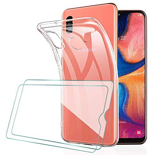 [2 Pack] KEEPXYZ Protector Pantalla para Samsung Galaxy A20e Cristal Templado + Funda para Samsung Galaxy A20e Silicona Transparente, Suave TPU Case Carcasa + Vidrio Templado para Samsung Galaxy A20e