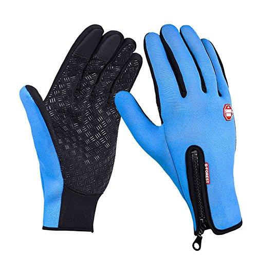 Winter Markenhandschuhe Bildschirm Winddicht wasserdicht warm Outdoor Ski Freizeitcamping warme Fahrradhandschuhe - Blau, S,