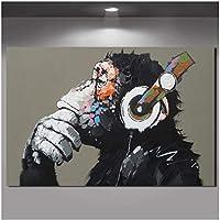 wekeke Cuadro de Animal Grande Lienzo Impreso Pintura Moderna Divertido Pensamiento Mono con Auriculares Cartel de Arte de Pared para Sala de Estar decoración-70x100 cm sin Marco