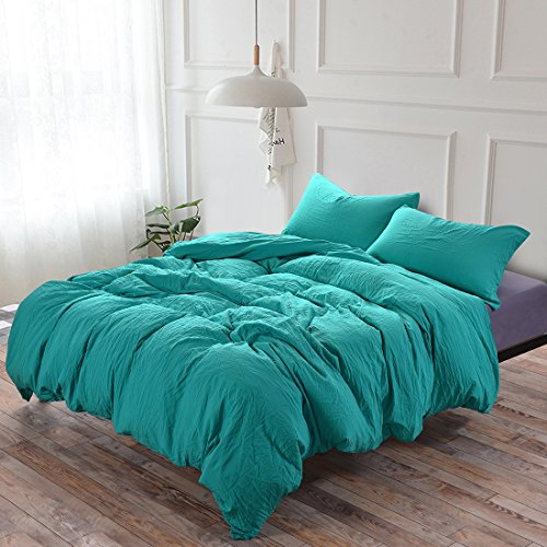 Luxury Quality Vintage Wrinkled Processed Stone Washed Microfiber Duvet Cover Set 3 Pieces with Zipper Closure Corner Ties - Fade Stain Resistant Quilt Case Comforter Cover - Bedding King Aqua Blue