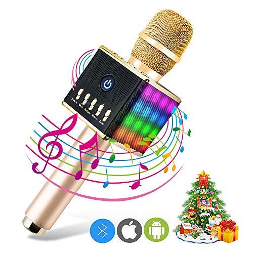 ERAY Micrófono Inalámbrico Karaoke, Micrófono karaoke Bluetooth, 2 Altavoces Incorporados, LED Luces de Colores, Soporta TF Tarjeta, 3.5mm AUX, Compatible con Smartphone, Color Dorado