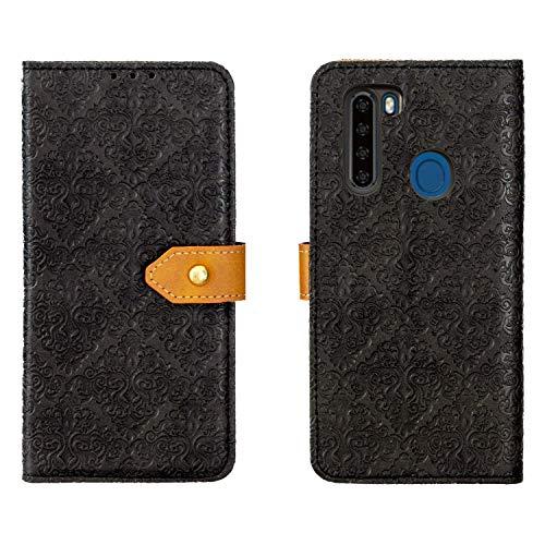 【 Judaz】 Lace Series v2.0 手帳ケース Blackview A80 Pro 用 手帳型 ケース (ブラック) マグネット式 ストラップ付き スタンド機能 スマホケース 横開き PU革 カード入れ 財布型 カバー blackviewA80pro 洋風柄 黒