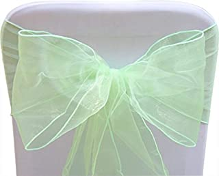 SARVAM FASHION SF New Pack of 10 Chair Decorative Organza Sashes Bow Designed for Wedding Events Banquet Home Kitchen Decoration - (10, Mint)