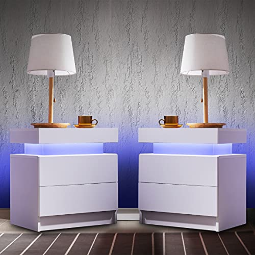 Generic Nightstand Set of 2 LED Nightstand with 2 Drawers, Bedside Table with Drawers for Bedroom Furniture, Side Bed Table with LED Light