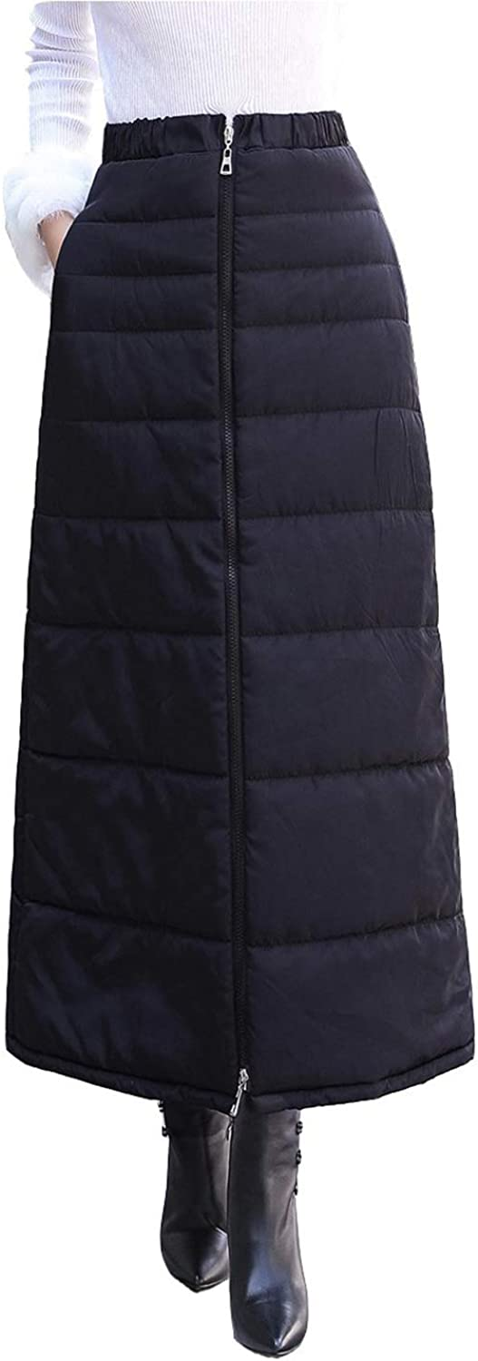 Gihuo Women's Ankle Length Cotton Down Skirt Zip Up Quilted Skirt
