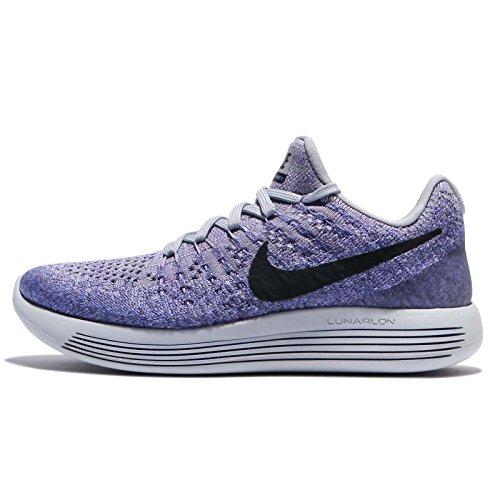 Nike Women's Lunarepic Low Flyknit 2 Running Shoe (6.5, Grey/Black/Purple)