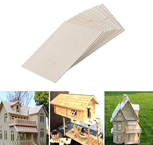 12 pezzi di fogli di legno di balsa, Legno non finito naturale per modello di piatto in legno fai-da-te.