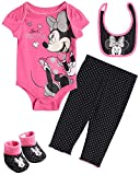 Disney Baby Girls Newborn Minnie Mouse 4-Piece Bodysuit Pants Layette Set with Booties (Minnie Pink Black, 0-3 Months)'