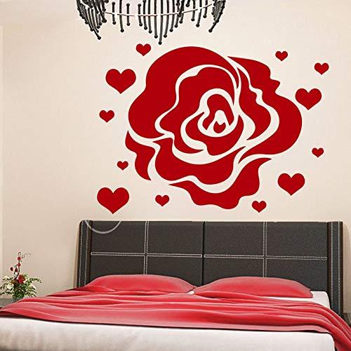 Flower Rose Hearts Wandaufkleber Home Decor Love Flowering Blossom Wandtattoos Abnehmbares Wohnzimmer Schlafzimmer Dekoration 57Cm X 82Cm