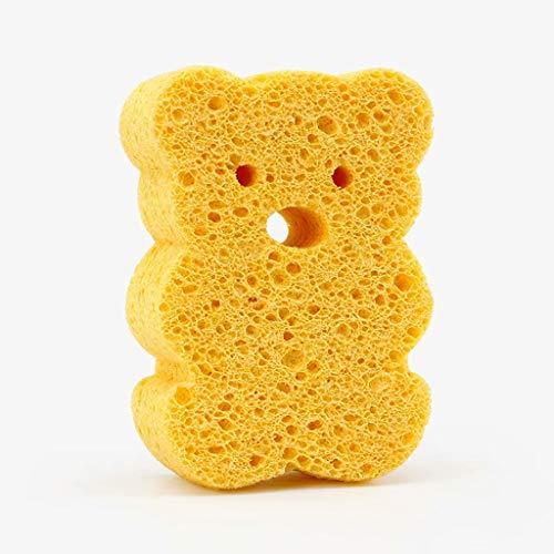 THMY De spons van natuurhoutvezel voor het douchebad, wekker van de strip, kan zacht de huid van de baby masseren, kleine beer