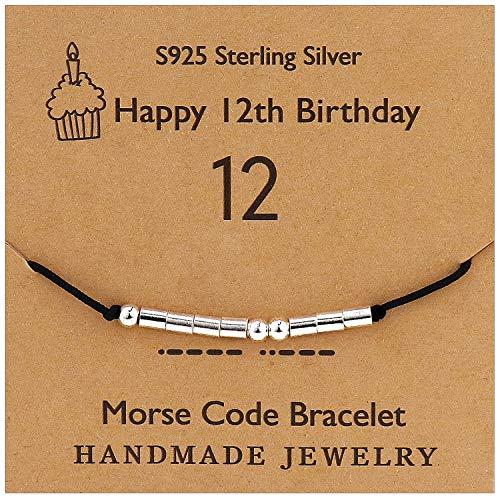 YooAi Morse Code Pulsera Regalos de Feliz cumpleaños para niñas Niños Pulsera de Plata esterlina Joyería de Regalo de cumpleaños para 12 años Cuentas en cordón de Seda 12