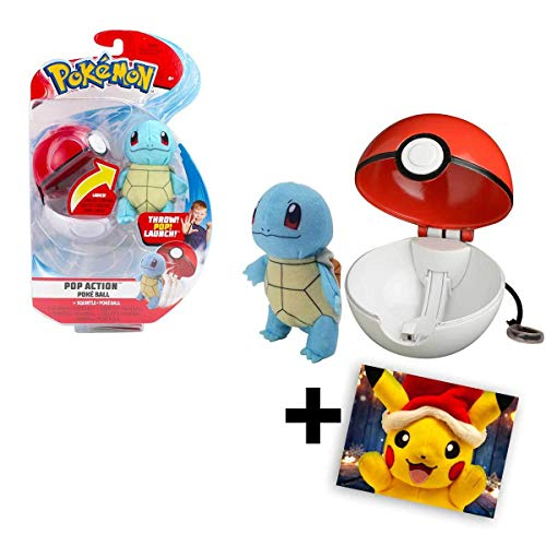 Lively Moments Pokemon mit Pokeball für unterwegs / Pokemonfigur / Plüschtier Schiggy + GRATIS Grußkarte