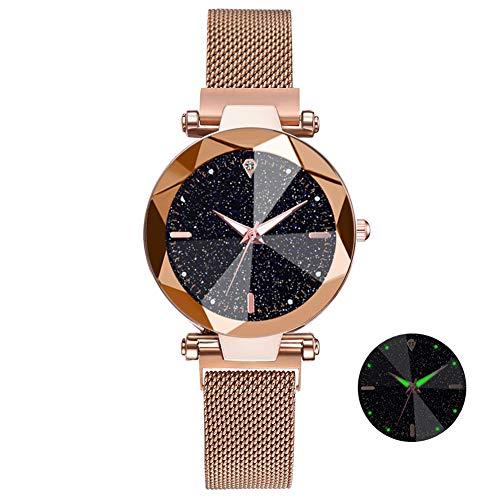 Zozmy Cielo EstrelladoLuminoso Mirar Moda Salvaje Reloj de Pulsera Hebilla Magnética Perezosa Reloj de Las Señoras Reloj de Mujer Reloj de Cuarzo,F