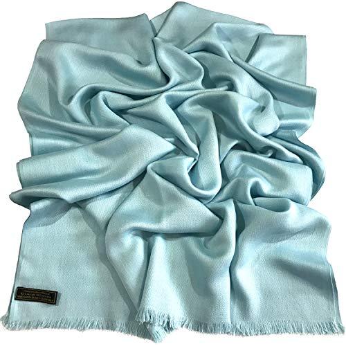 CJ Apparel CJ Apparel Babyblau Normallack Design Nepalesischer Fransenschal Pashmina Schal Stola Wurf NEU