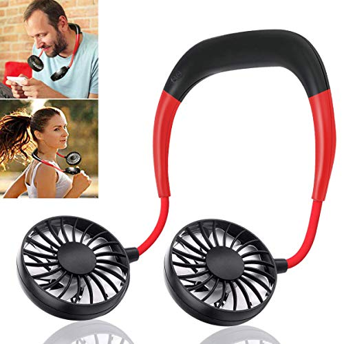Tempo USB Fan, New Neck Fan, Portable Rechargeable Neckband Lazy Neck Hanging Style Cooling Fan, Dual Wind Head & 3 Speed with Aromatherapy Design For Office Home Indoor Outdoor-Black+Red