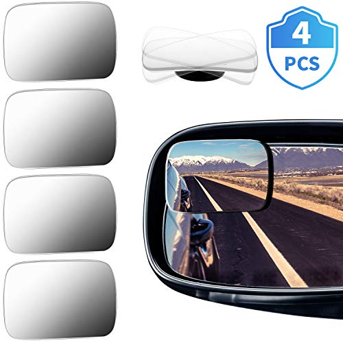 4 Pieces Rectangle Car Blind Spot Mirror 360 Degree HD Glass Convex Spot Frameless Adjustable Self-adhesive Wide Angle Blind Spot Mirror