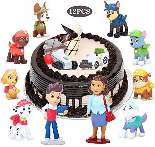 Yisscen Paw Dog Patrol Cake Topper, Mini Juego de Figuras, 12 piezas Cupcake Topper, Suministros de decoración de tartas, Juego de tartas de fiesta, utilizado para decoraciones de tartas de cumpleaños