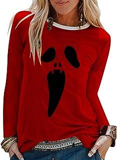 BOLANQ Mens Casual Effrayant Halloween Amant Impression 3D Chemisier /à Manches Longues