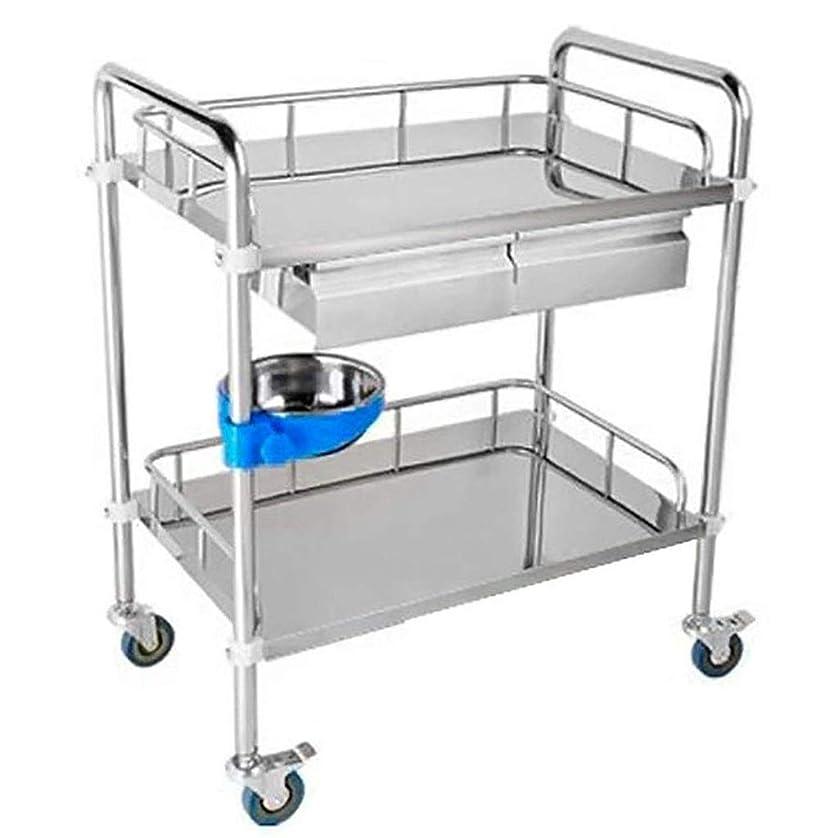 洞察力ベアリングサークル偽実用的な厚いステンレス鋼の貯蔵のカート2の層の棚、スペースを節約するための車輪が付いている美装置車の棚/サービスカート (サイズ さいず : 60*40*86cm)