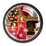 Transparenter Türknauf für Schubladen, Schränke, Weihnachtsdekoration, blaue Kugeln, Weihnachtskerzen Weihnachtsbäume Feuer, 3.5×2.8CM/1.38×1.10IN
