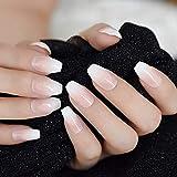 WOVP Uñas Postizas Rosa Blanco Uñas Postizas Gradiente Natural Manicura Presione sobre Uñas Postizas Consejos Diario Oficina Desgaste De Los Dedos