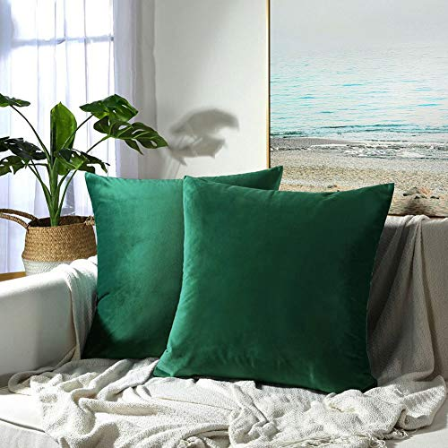 JUSPURBET Velvet Pillow Covers 26x26 Inches,Pack of 2 Decorative Throw Pillow Covers for Sofa Couch Bed, Super Soft Throw Pillows Cases,Dark Green
