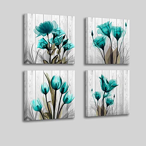 Flower-Wall-Decor for Bedroom Living Room Wall Art for Bedroom - Inspirational Tulip Canvas Wall Art Prints House Decor - 14x14 inches Each Panels