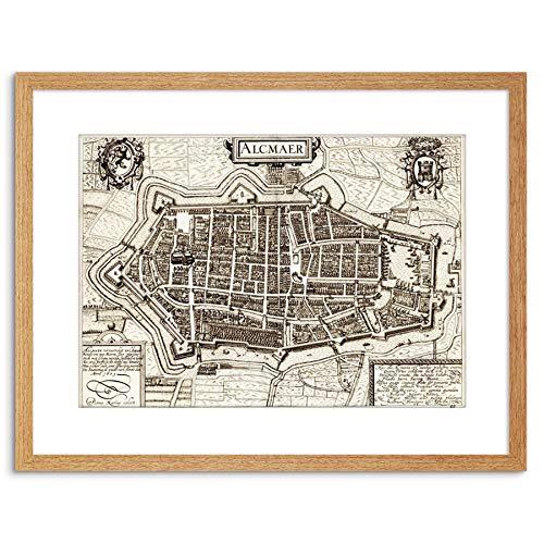 Wee Blue Coo MAP ANTIQUE CITY PLAN ALKMAAR NEDERLAND FRAMED PRINT F97X3963