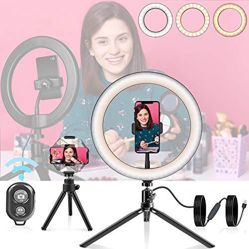 10'' Selfie Ringlicht Stativ mit Fernbedienung, DUTISON LED Handyhalter Tischringlicht mit 3 Farbe und 10 Helligkeitsstufen, Licht für Schminken, Live Streaming, Videosschooting, Fotografie und Tiktok