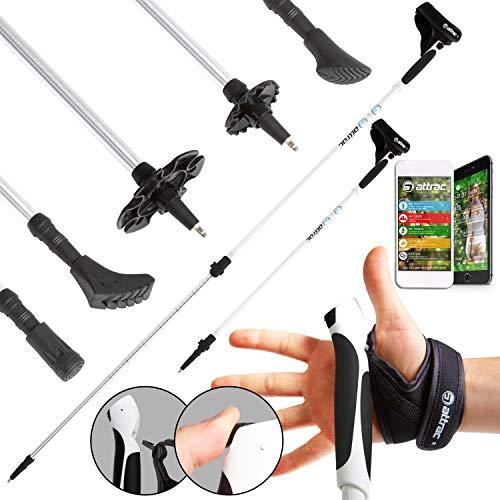 ATTRAC Nordic Walking Stöcke Aluminium Teleskop verstellbar I Inklusive Handgelenkschlaufen mit Click & GO System + GRATIS - Nordic Walking/Fitness App I Auswählbar mit Tasche (Ohne Tasche)