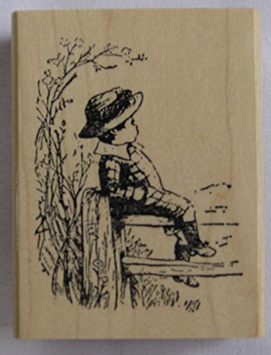 Nature's Blessings Fine Art Stamps, Boy on Fence rg2923580379084