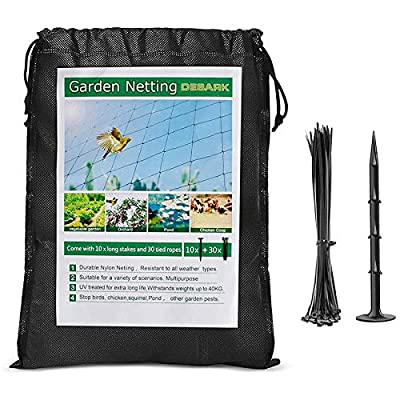 "DEBARK Bird Net 25' x 50' Garden Netting with 1"" Square Mesh Protect Fruit Tree, Plant & Vegetables from Poultry, Deer and Pests, Heavy Duty Bird Netting for Garden, Farm, Orchard, etc. (Black)"