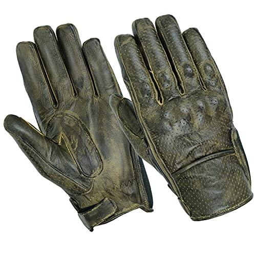 Motorrad Sommer Handschuhe Biker Leder Handschuhe Chopper Handschuhe (L)